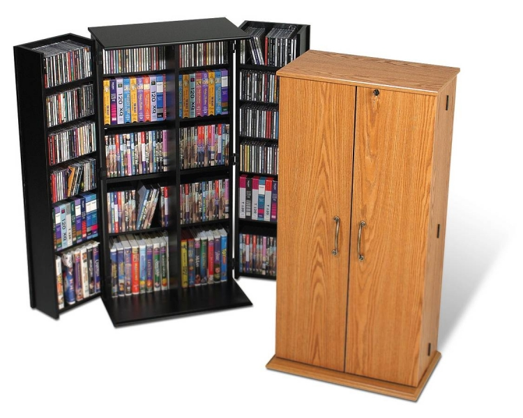 Oak Tall Locking Media Storage Cabinet