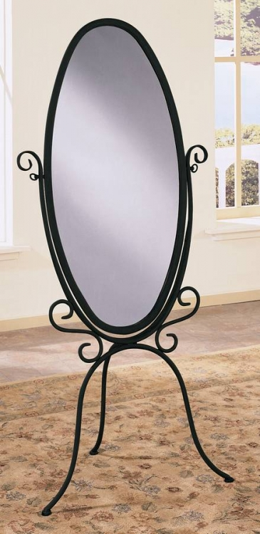 Garden District Black with Gold Highlights Scroll Cheval Mirror - Powell
