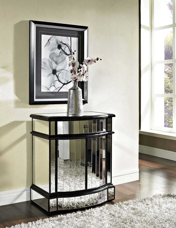 Mirrored 6-Drawer Black Wood Console - Powell
