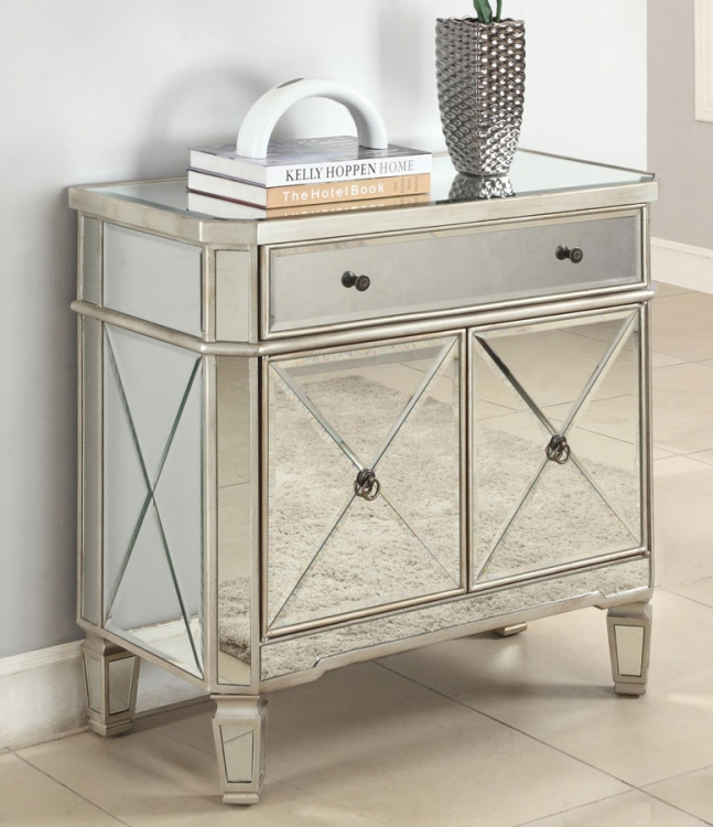 Mirrored 1-Drawer, 2-Door Console - Powell