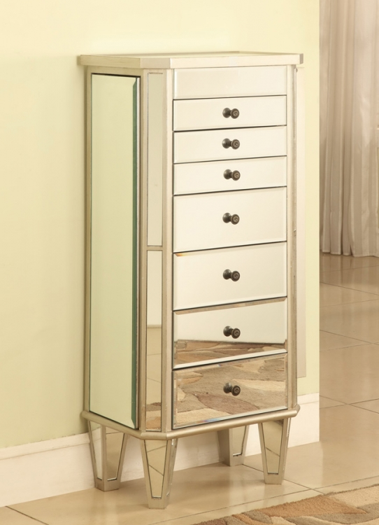 Mirrored Jewelry Armoire with Silver Wood - Powell
