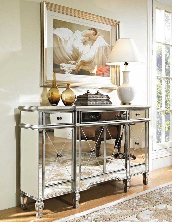 Mirrored 3 Drawer 4 Door Console - Powell