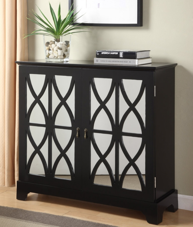 Black Console with Mirrored Glass Doors - Powell
