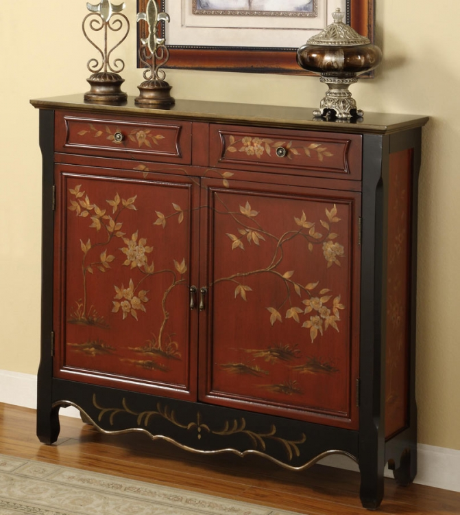 Red Oriental 2-Door Console - Powell