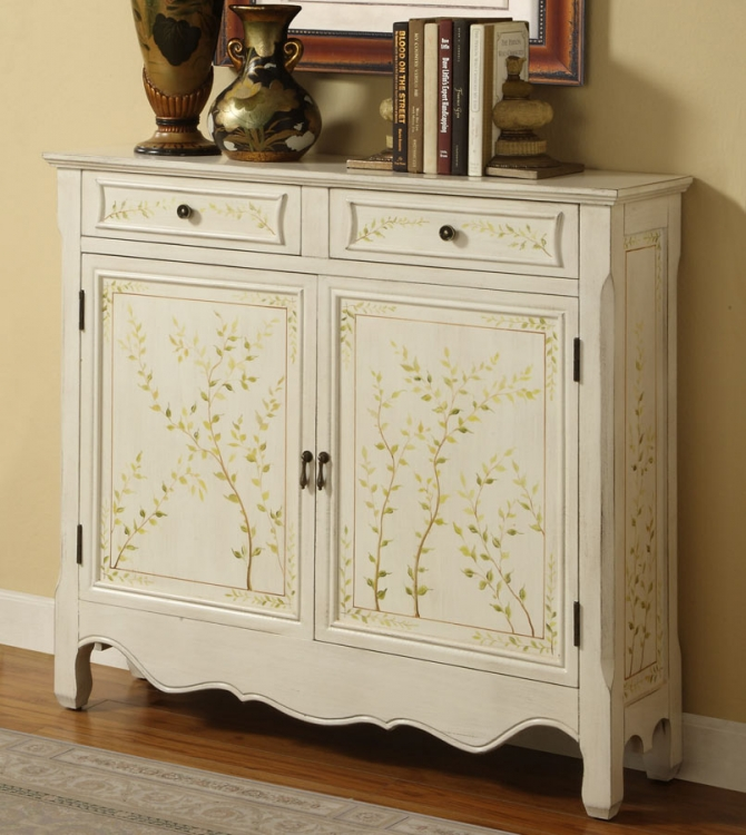 White Hand Painted 2-Door Console - Powell