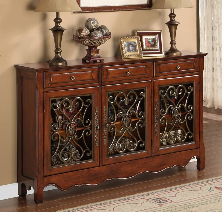 Walnut 3-Door Scroll Console - Powell