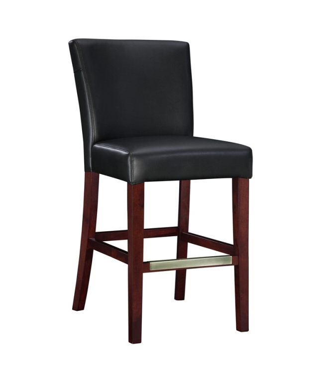 Black Bonded Leather Bar Stool - Powell