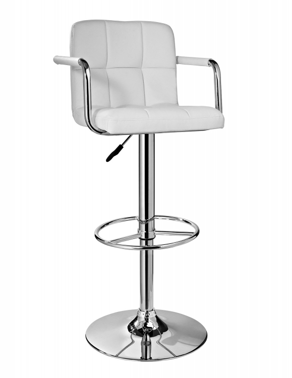 Quilted Barstool - Chrome/White
