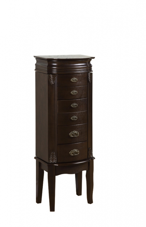 Italian Influenced Transitional Espresso Jewelry Armoire