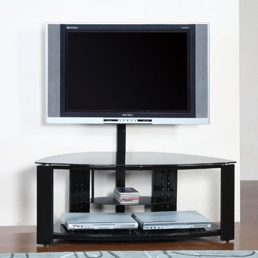 2-Shelf Corner Flat Panel TV Stand with Post and Bracket - Powell