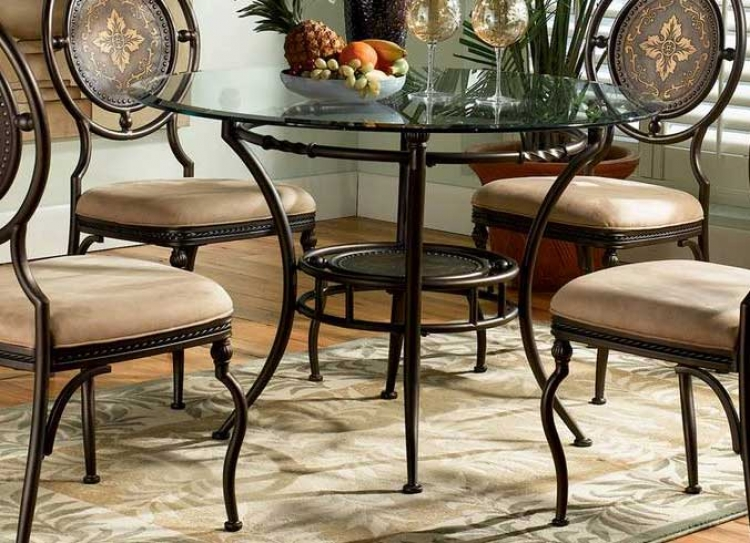 Basil Antique Brown Pedestal Dining Table - Powell