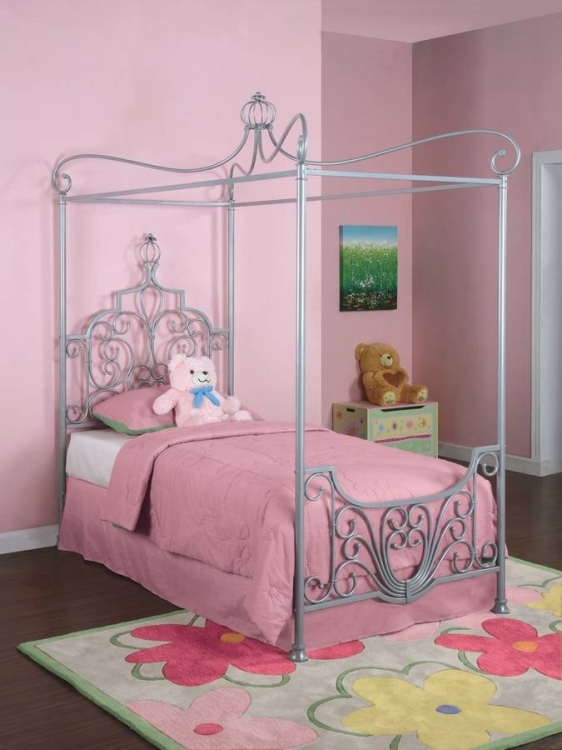 Princess Rebecca Sparkle Silver Canopy Twin Size Bed
