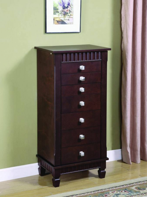 Contemporary Merlot Jewelry Armoire - Powell