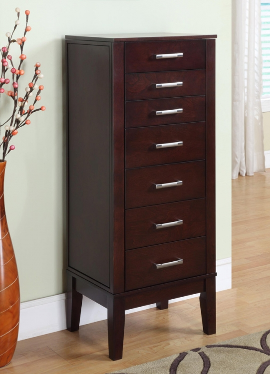 Contemporary Dark Espresso Jewelry Armoire