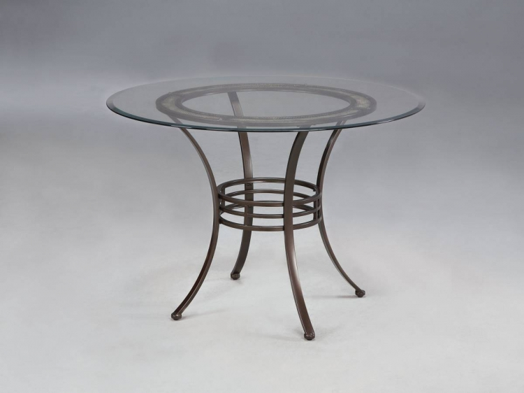 Camelback Light Patina Bronze with Grey Pedestal Dining Table
