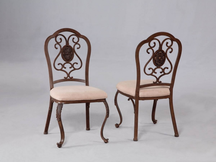 Bloomfield Hand Mottled Antique Bronze Double Arched Dining Side Chair