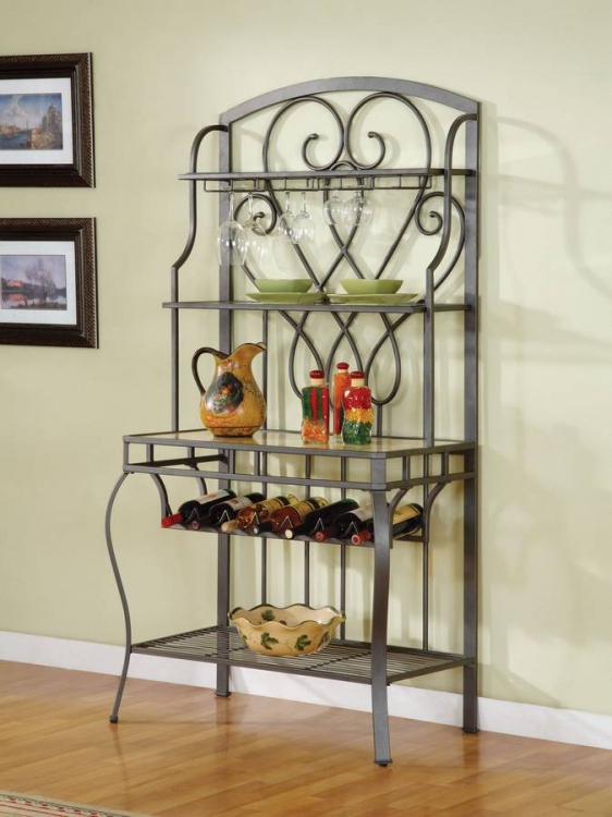 Powell Arlington Antique Pewter Baker's Rack