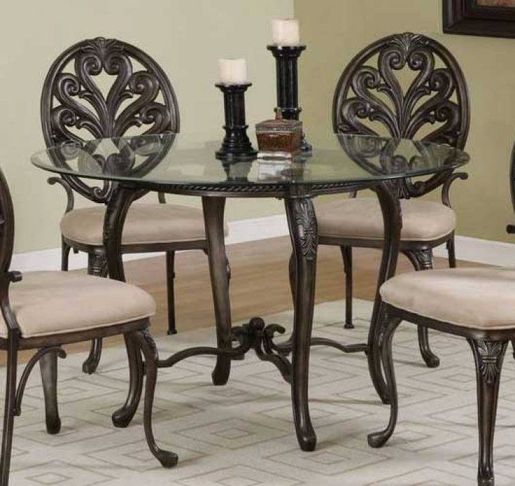 Biscayne Aged Pewter with Bronze Pedestal Dining Table