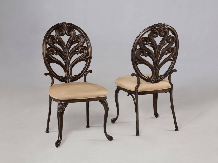 Biscayne Aged Pewter with Bronze Oval Back Dining Chair