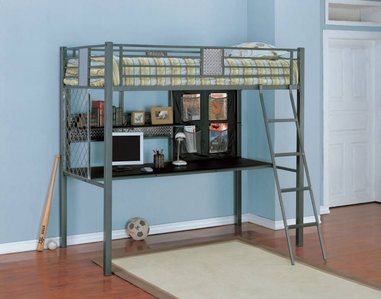 Monster Bedroom Twin Study Loft Bunk Bed - Powell