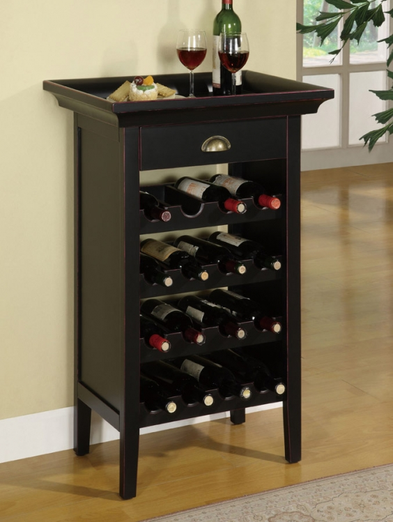 Black with Merlot Rub through Wine Cabinet - Powell