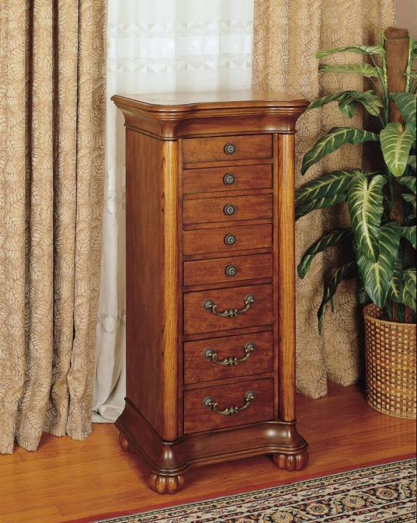 Wilmington Cherry and Burl Jewelry Armoire - Powell