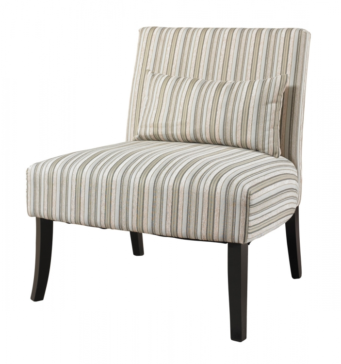 Lila Armless Chair with Striped Fabric - Black - Powell