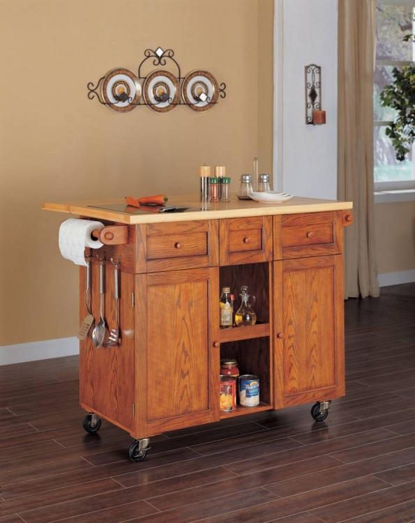 Medium Oak 3-Drawer Kitchen Butler - Powell