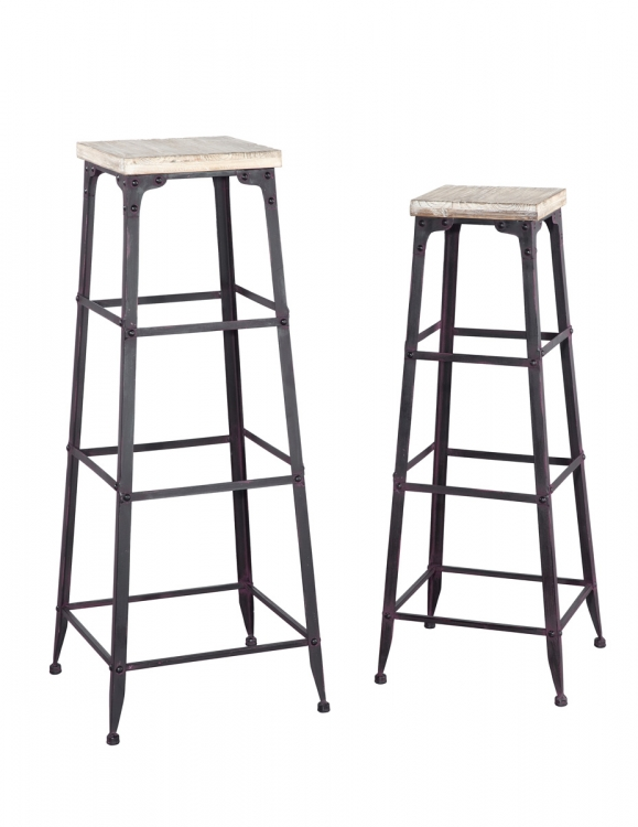 Driftwood Large and Medium Plant Stands - Metal Finish