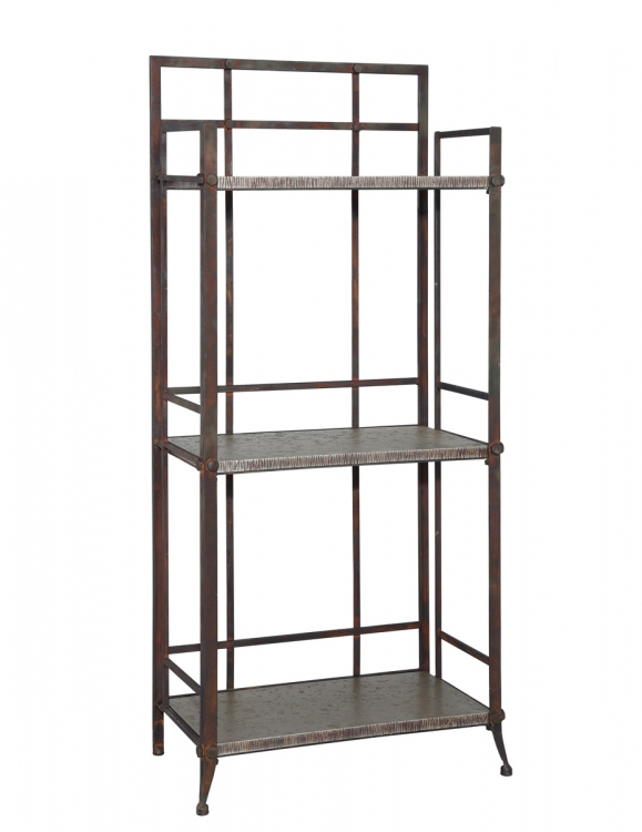 Foundry Tall 3-Shelf Bookcase with Gallery Crown - Antique Pewter - Powell