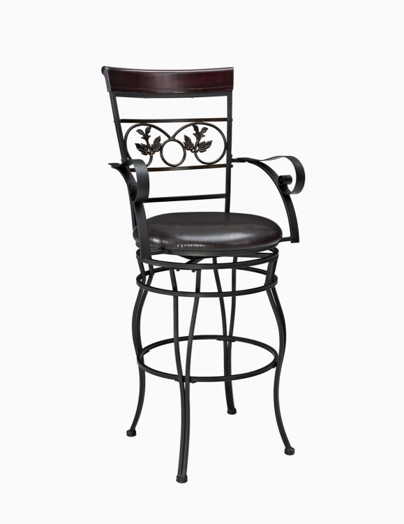 Mtl Big and Tall Leaves Bar Stool with Arms - Bronze/Walnut - Powell