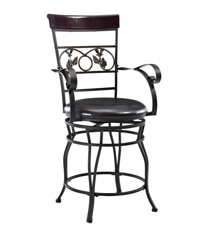 Mtl Big and Tall Leaves Counter Stool with Arms - Bronze - Powell
