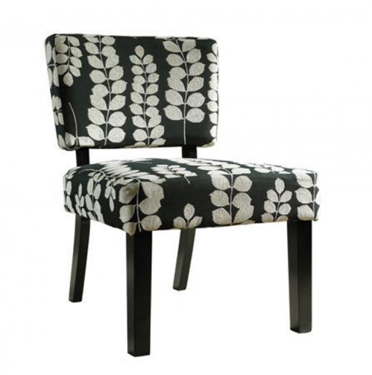 Black and Cream Floral Oliver Accent Chair - Powell