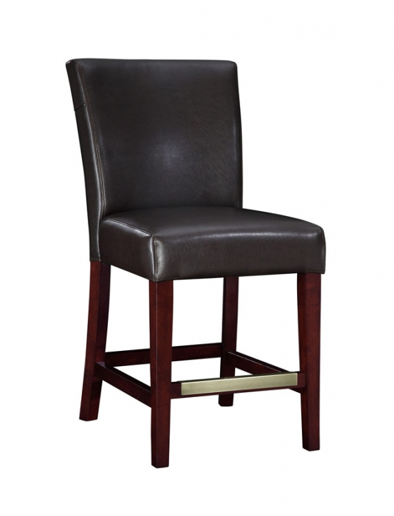 Brown Bonded Leather Counter Stool