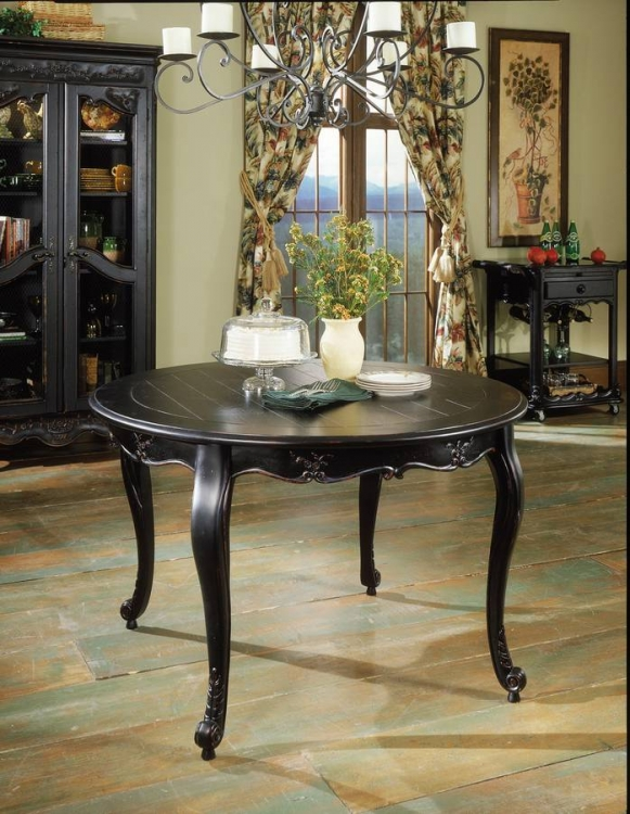 Hills Of Provence Antique Black over Terra Cotta 48 Dia. Dining Table