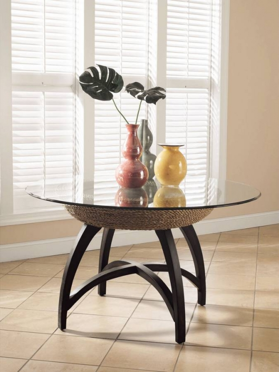 Carmel Dark Mahogany and Natural Seagrass Pedestal Dining Table