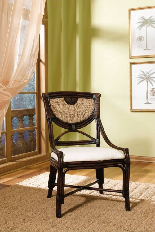 Carmel Dark Mahogany and Natural Seagrass Dining Chair