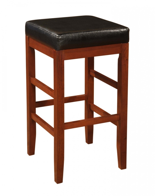 Cherry Square Backless Bar Stool with Black Bonded Leather Seat