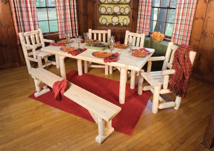 Cedar Looks Solid Top Dining Table Set - Rustic Cedar