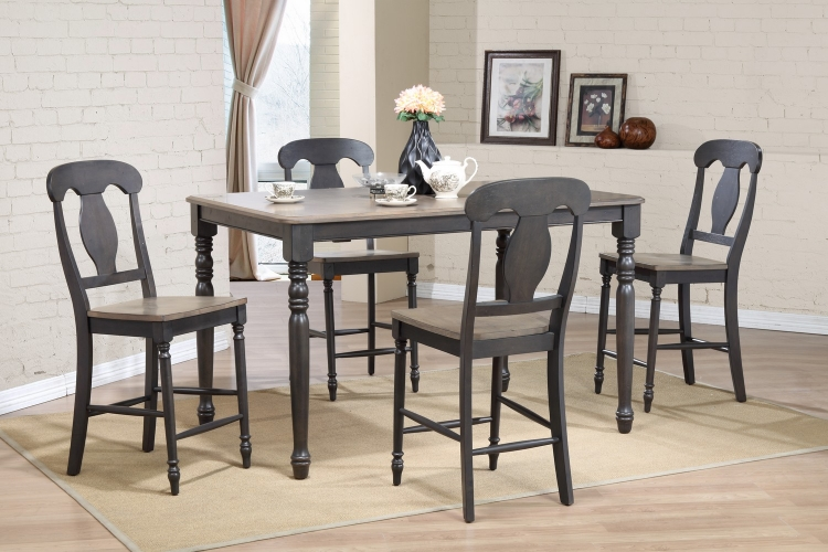 RT78 Grey Stone/Black Stone Napoleon Back Counter Height Dining Set