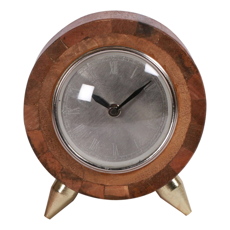 Kingston Clock - Natural/Brass Plated