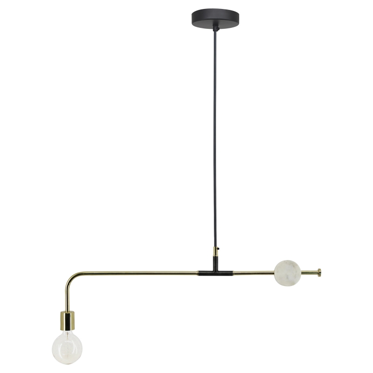 Fairfax Ceiling Fixture - Shiny Brass/white Marble