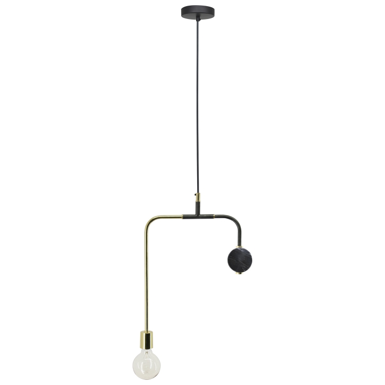 Harbor Ceiling Fixture - Shiny Brass/Black Marble