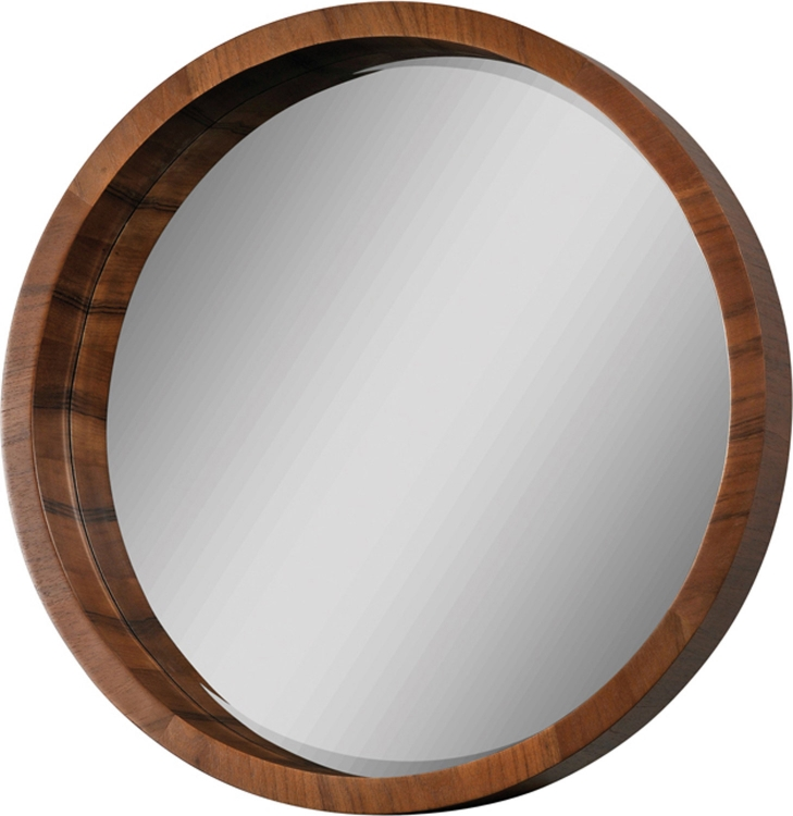 Round Mirror - Walnut Veneer