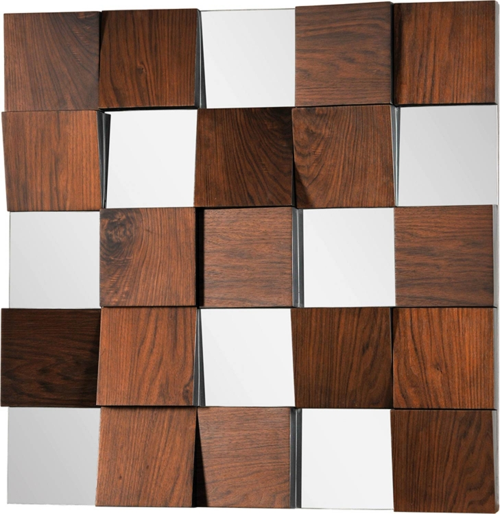 Square Mirror - Walnut Veneer