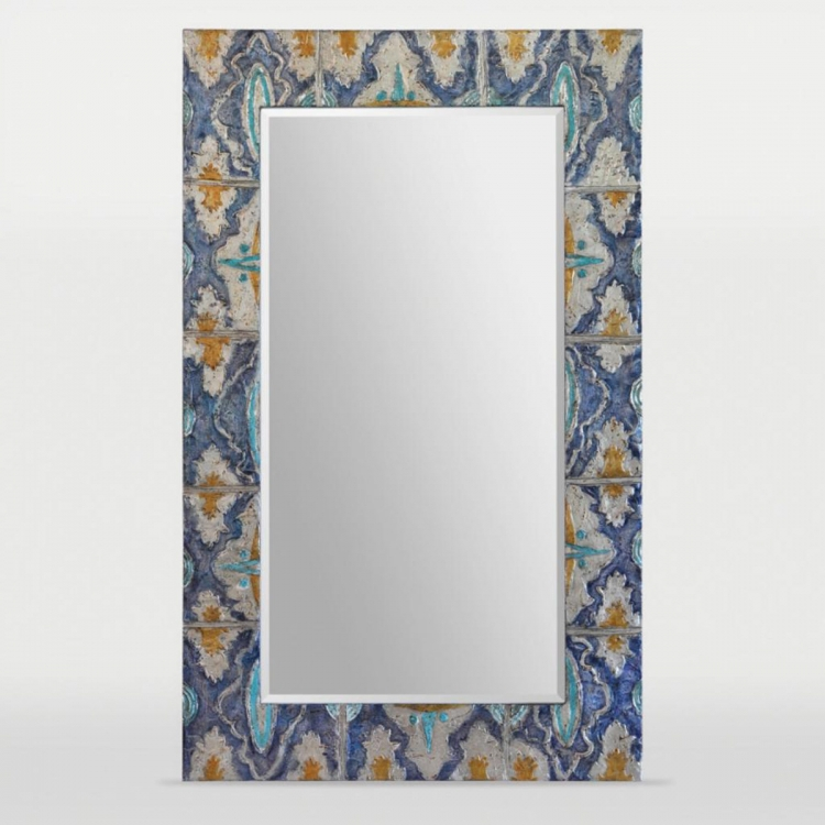 Camellia Mirror - Hand Painted Multi Color With Heavy Texture