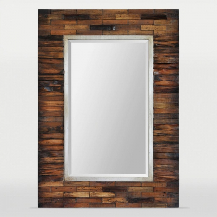Pretoria Mirror - Natural Wood Mirror With Brown Wash Antique Mirror