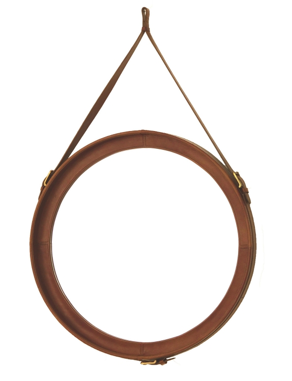 Thoroughbred Mirror - Light Brown Leather