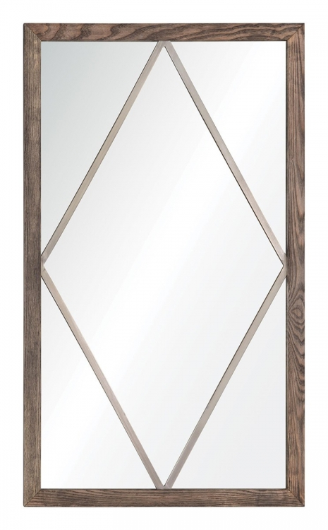 MT1532 Rhombus Mirror - Natural Wood/Satin Nickel Metal