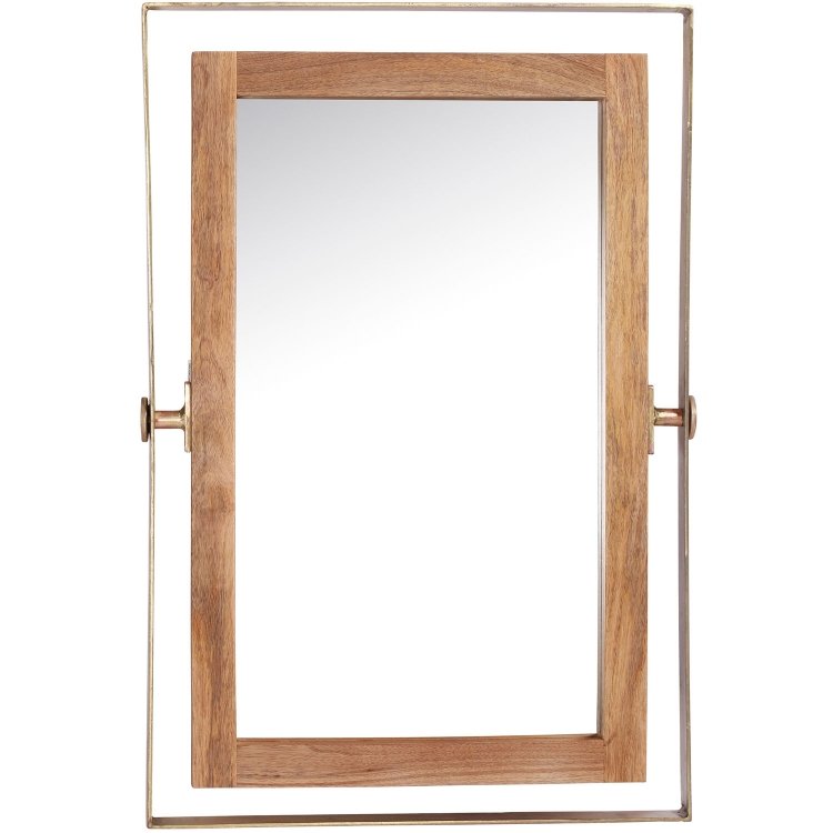 Crescent Rectangular Mirror - Brass Plated/Natural Wood